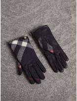 Burberry Leather and Check Cashmere Gloves , Size: 6.5, Blue