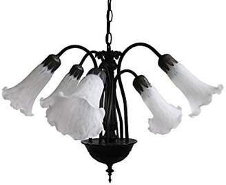 BEIGE Loxton Lighting 5 Light Lily Pendant Complete Glass, White