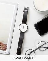 Skagen Hagen Leather Connected Smart Watch In Black Skt1101