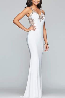 Faviana Long jersey v-neck dress