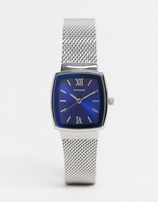 Sekonda mesh watch in silver with blue dial exclusive to Asos