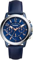 Fossil Women's Chronograph Gwynn Blue Leather Strap Watch 38mm ES4131