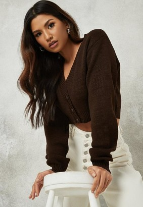 Missguided Tall Chocolate Crop Basic Knit Cardigan