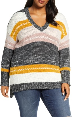 Caslon Mixed Stripe V-neck Pullover