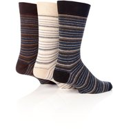 Universal Textiles Mens Honeycomb Top Cotton Rich Gentle Grip Striped Socks (Pack Of 3)
