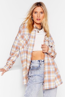 Nasty Gal Womens All A-lined Oversized Check Shirt - Beige - S