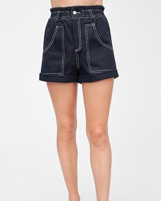Express Emory Park High Waisted Paperbag Shorts