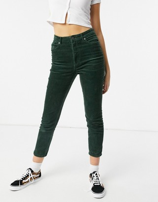 Monki Kimmy cotton cord trousers in green