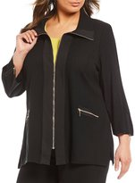 Ming Wang Plus Wing Collar Zip-Front Trim Jacket