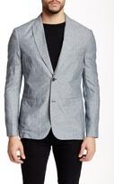 John Varvatos Peaked Lapel Linen Blend Suit Separate Jacket