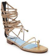 Lanvin Multi-Braided Metallic Leather Flat Sandals