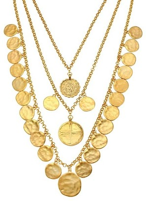 Kenneth Jay Lane Triple-Row Coin Charm Necklace