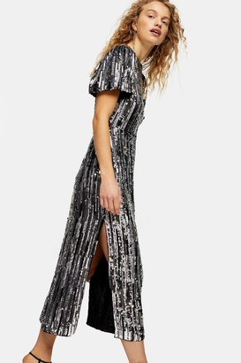 Topshop Womens Premium Silver Puff Sleeve Sequin Midi Dress - Silver
