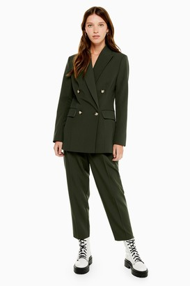 Topshop Womens Dark Green Double Breasted Suit Blazer - Dark Green
