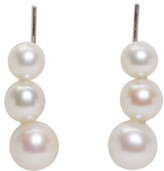 Saskia Diez Silver Triple Pearl Earrings