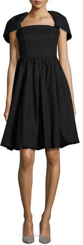 Co Draped-Shoulder Bubble Dress, Black