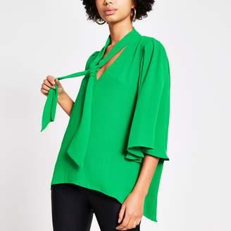 River Island Womens Green tie V neck choker blouse
