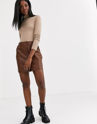 Pimkie button through faux leather skirt in tan-Brown