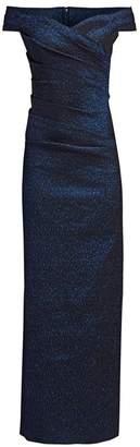 Teri Jon By Rickie Freeman Off-The-Shoulder Metallic Jacquard Column Gown