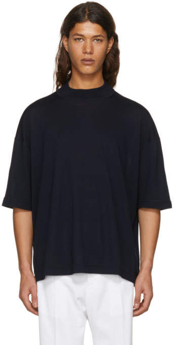Jil Sander Navy Mock Neck Sweater