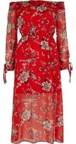 River Island Womens Red floral print bardot maxi dress