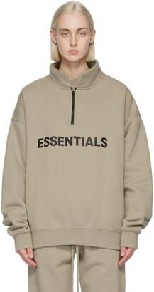 Essentials Khaki Mock Neck Half-Zip Hoodie