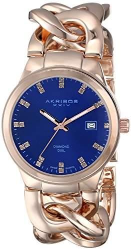 Akribos XXIV Women's AK759RGBU Lady Diamond-Accented Rose Gold-Tone Watch