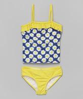 KensieGirl Yellow & Navy Daisy Tankini - Girls
