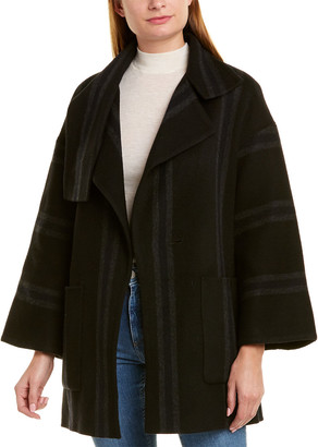 Vince Striped Wool-Blend Blanket Coat
