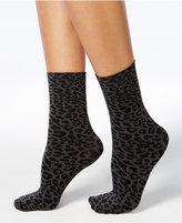 Hue Women's Leopard-Print Anklet Socks
