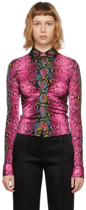 Versace Multicolor Fitted Snake Print Shirt