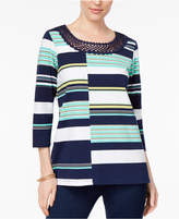 Alfred Dunner Montego Bay Petite Striped Crochet-Trim Top