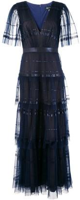 Tadashi Shoji cape sleeves pleated tulle dress