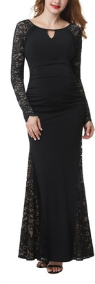 Kimi and Kai Bella Long Sleeve Maternity Maxi Dress