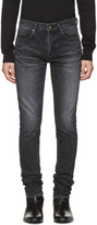 Saint Laurent Black Low-Waisted Skinny Embroidered Jeans