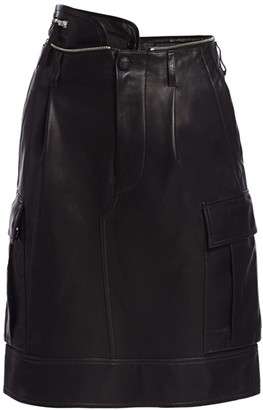 Helmut Lang High-Waist Leather Military Skirt