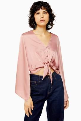 Topshop Womens Pink Kimono Sleeve Blouse - Blush