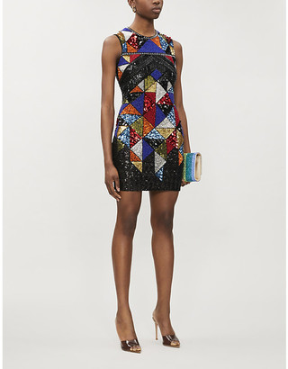 Balmain Sleeveless sequin-embellished mini dress