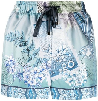 F.R.S For Restless Sleepers Glauco tonal-print silk shorts