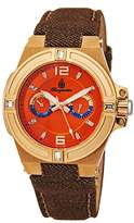 Burgmeister Women's Quartz Watch with Orange Dial Analogue Display and Brown Fabric and Canvas Bracelet BM220-390