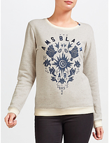 Maison Scotch Graphic Print Sweatshirt, Grey Melange