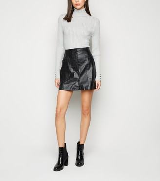 New Look NA-KD Faux Croc Leather-Look Mini Skirt