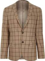 Mens Beige check skinny fit suit jacket