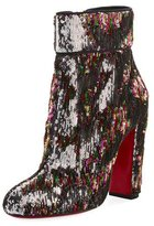Christian Louboutin Moulamax Sequined 100mm Red Sole Bootie, Silver