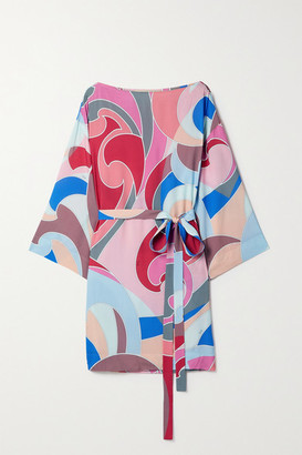 Emilio Pucci Belted Printed Woven Mini Dress - Pink