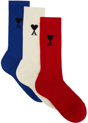 Ami Alexandre Mattiussi Three-Pack Multicolor Jacquard Logo Socks