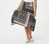 Denim & Co. Printed Jersey Trapeze Hem Skirt with Wide Waistband