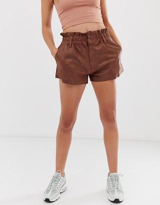 Zya ZYA washed pu high waist shorts-Brown