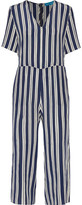 MiH Jeans Hart Cropped Striped Silk Jumpsuit
