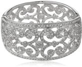 """Kenneth Jay Lane Rhodium-Plated Silver-Tone and Crystal Lace Cuff Bracelet, 9"""""""